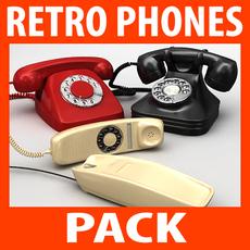 Retro Style Telephones Pack 3D Model
