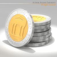 Symbolic euro coins 3D Model
