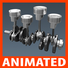 Animated L4 Engine Cylinders 3D Model