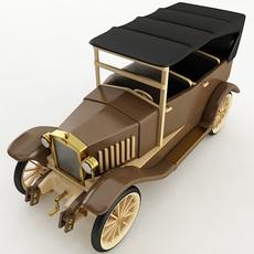 Vintage Wooden Car 3D Model