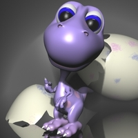 Baby dino cartoon rigged 3D Model