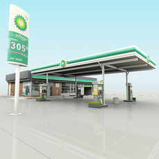 BP Gas Station with Shop and CarWash RenderReady 3D Model
