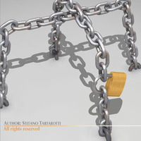 Chains and padlock 3D Model
