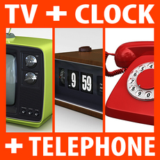 Retro Sytle Television Set Flip Clock and Telephone 3D Model