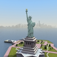 Liberty Island Scene Statue of Liberty 3D Model