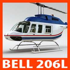 Helicopter - Commercial Bell 206L with Interior 3D Model