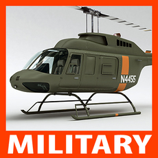 Helicopter - Military Bell 206L with Interior 3D Model