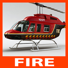 Helicopter - Fire Bell 206L with Interior 3D Model