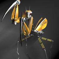 Praying Mantis Robot RIGGED 3D Model