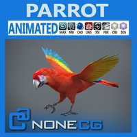 Animated Red Parrot