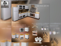 Kitchen Furniture Set 3D Model