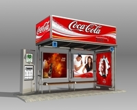 Bus Stop Shelter Coke Brand 3D Model
