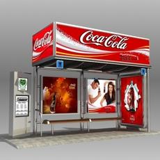 Bus Stop Shelter Coke Brand 3D Model