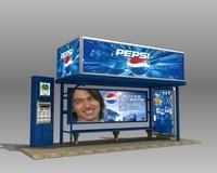 Bus Stop Shelter Pepsi Brand 3D Model
