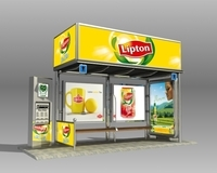 Bus Stop Shelter Lipton Brand 3D Model