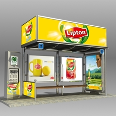 Bus Stop Shelter Lipton Brand 3D Model