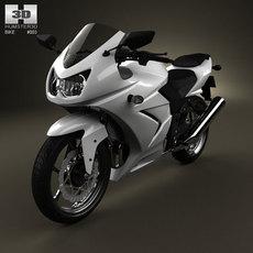Kawasaki Ninja 250R Sport Bike 3D Model