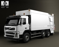 Volvo Truck 6x2 Garbage 3D Model