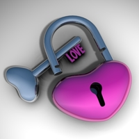 Heart-shaped padlock 3D Model