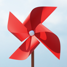 Paper Windmill (Pinwheel) 3D Model