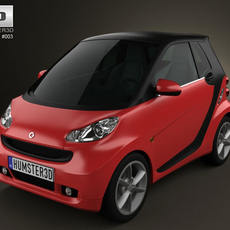 Smart ForTwo 2011 convertible closed Top 3D Model