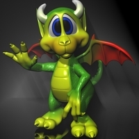 Cute Cartoon Dragon Rigged 3D Model