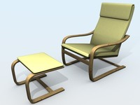 Relax armchair with ottoman 3D Model