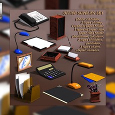 Office supplies set 3D Model