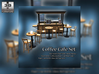 Bistro Coffee Shop Scene 3D Model