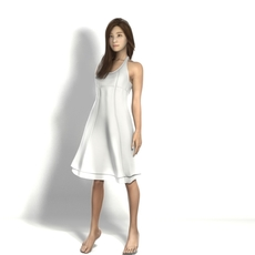 asian in dress 3D Model