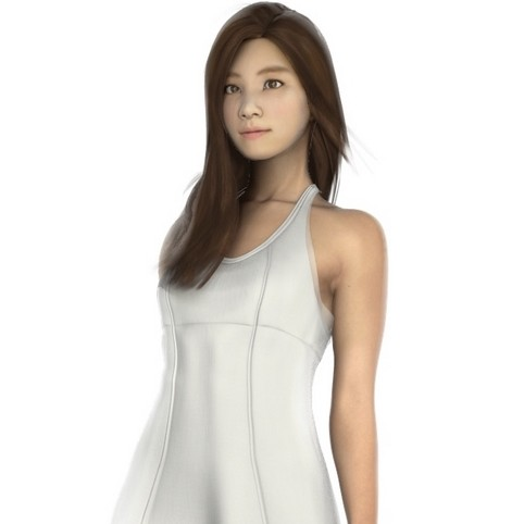 Asian in dress 3d model for A1a facial and salon equipment