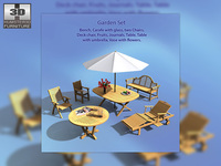 Garden Set Outdoor Furniture Collection 3D Model