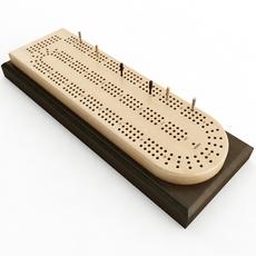 Cribbage Card Game Board 3D Model