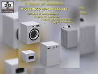 Household appliance set 3D Model