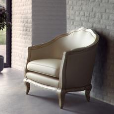 Bleached Linen armchair 3D Model