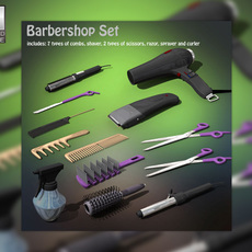 Barbershop set  Hairstyling Collection 3D Model