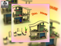 Toy Doll House Set 02s 3D Model