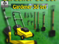 Set gardener - Lawnmower and Garden Tools 3D Model