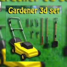 Set gardener - Lawnmower and Garden Tools 3D Model