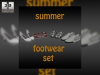 Footwear - Summer Shoes Set 3D Model
