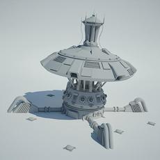 Futuristic Sci Fi Building 4 3D Model