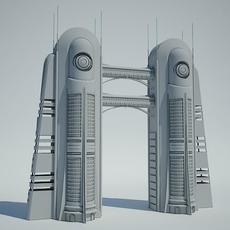 Futuristic Sci Fi Building 6 3D Model