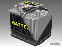 Car Battery + Full Interior  3D Model