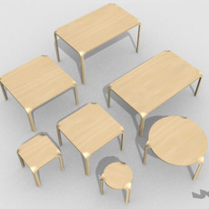 Alvar Aalto X-leg furniture set 3D Model