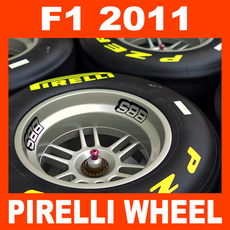 F1 2011 Pirelli Dry Slick Tire and Wheel 3D Model