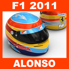 F1 2011 Fernando Alonso Helmet 3D Model