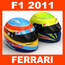 F1 2011 Fernando Alonso and Felipe Massa Helmet 3D Model