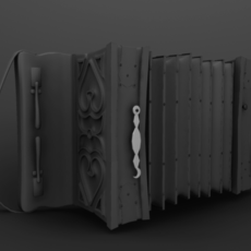 Accordion player (animated) 3D Model