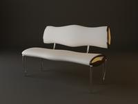 Upholstered Bench 3D Model