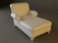 White Leather Chaise Chair 3D Model